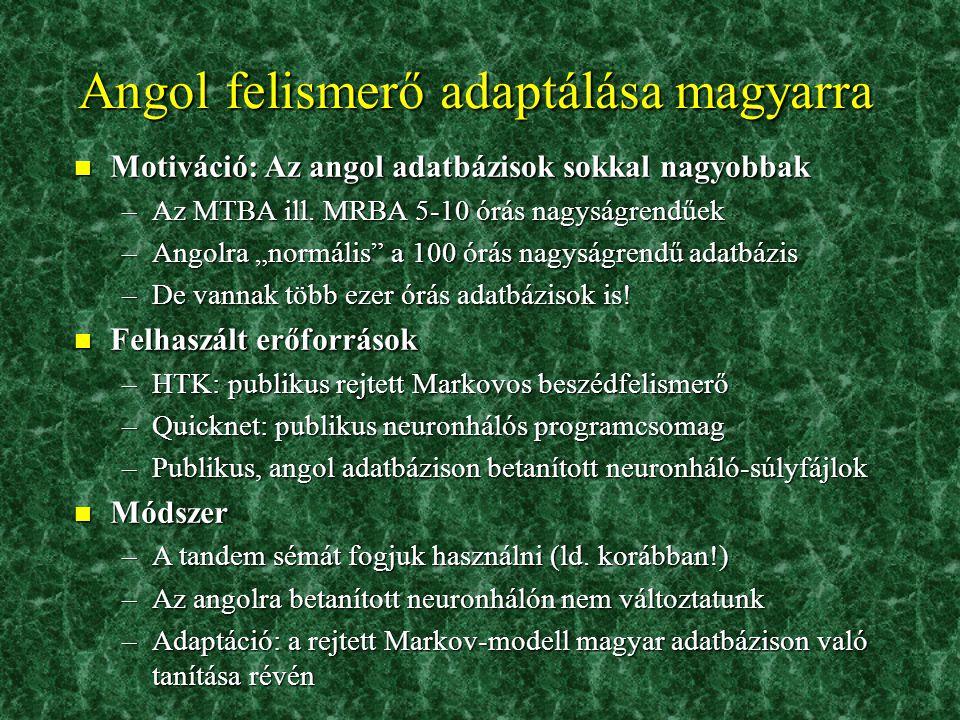 Angol felismerő adaptálása magyarra
