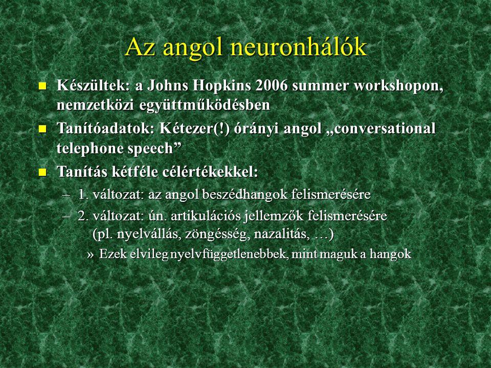 Az angol neuronhálók Készültek: a Johns Hopkins 2006 summer workshopon, nemzetközi együttműködésben.