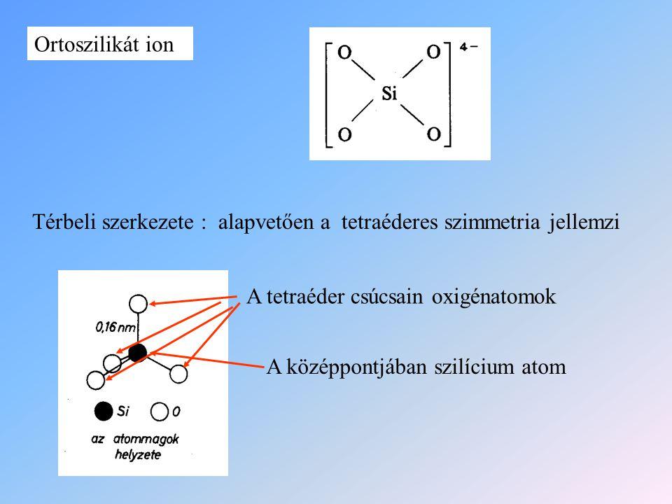 Ortoszilikát ion Térbeli szerkezete : alapvetően a tetraéderes szimmetria jellemzi. A tetraéder csúcsain oxigénatomok.