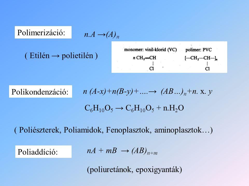 Polimerizáció: Polikondenzáció: Poliaddíció: n.A →(A)n. ( Etilén → polietilén ) n (A-x)+n(B-y)+….→ (AB…)n+n. x. y.