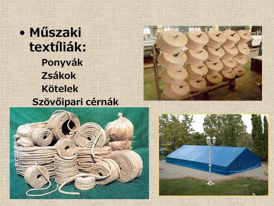 Műszaki textíliák: Ponyvák Zsákok Kötelek Szövőipari cérnák