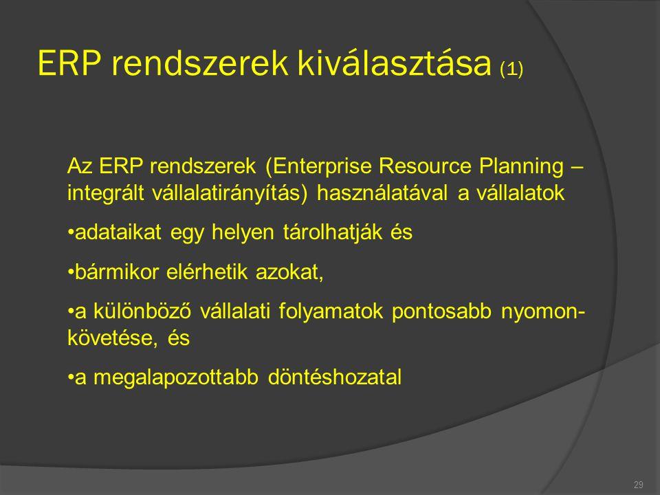 ERP rendszerek kiválasztása (1)