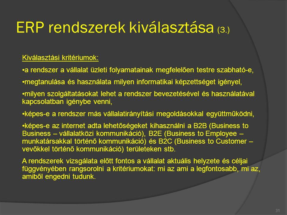 ERP rendszerek kiválasztása (3.)