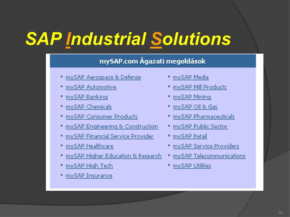 SAP Industrial Solutions