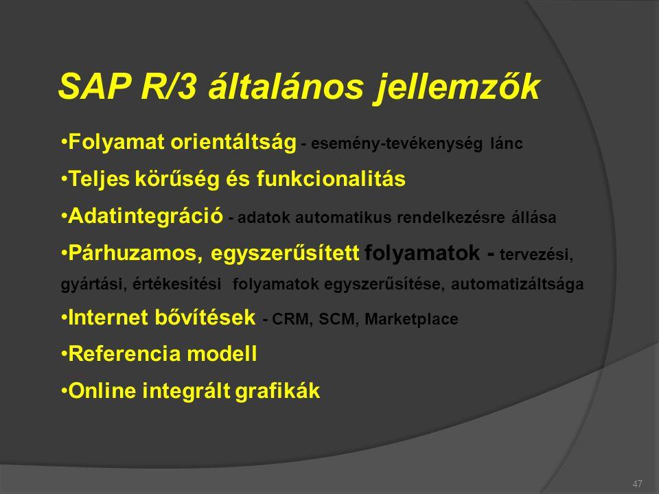 SAP R/3 általános jellemzők