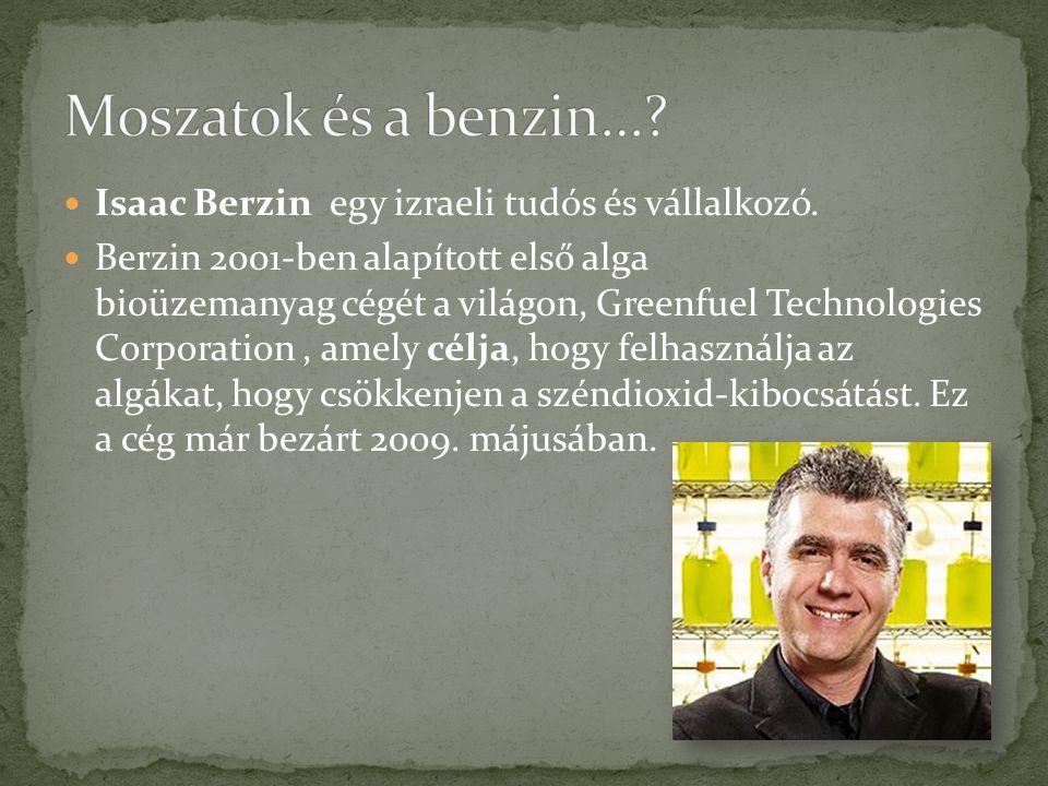 Moszatok és a benzin… Isaac Berzin egy izraeli tudós és vállalkozó.