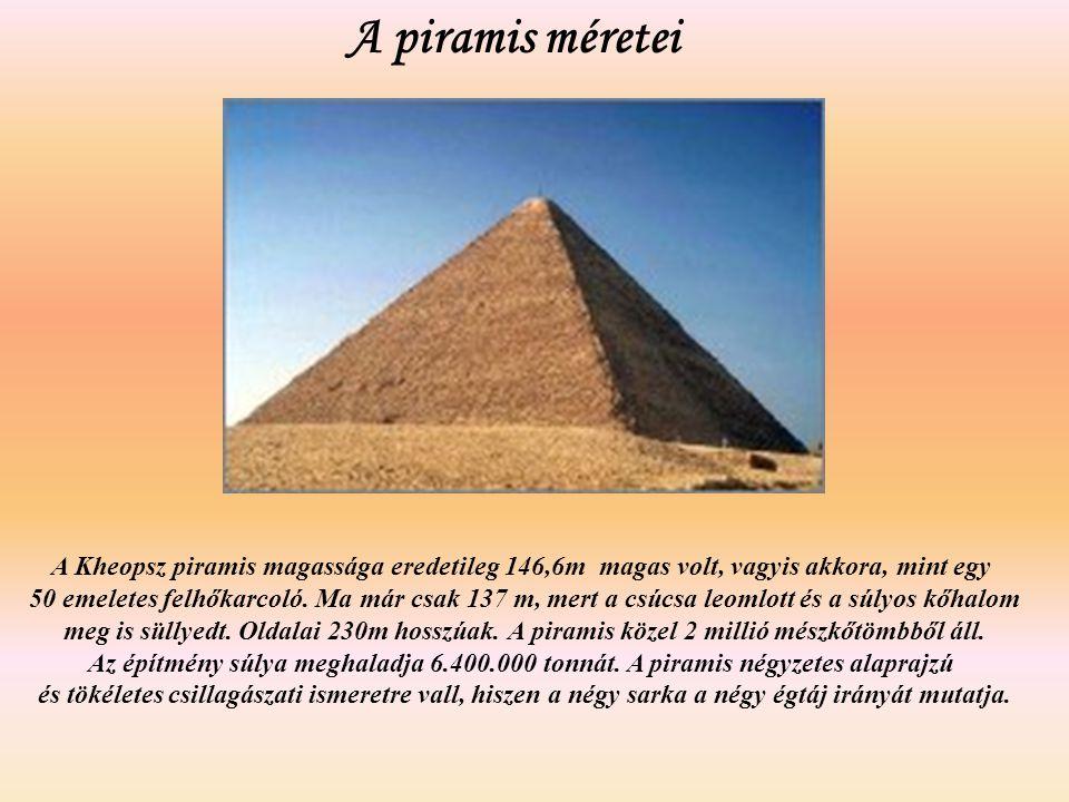 A piramis méretei A Kheopsz piramis magassága eredetileg 146,6m magas volt, vagyis akkora, mint egy.