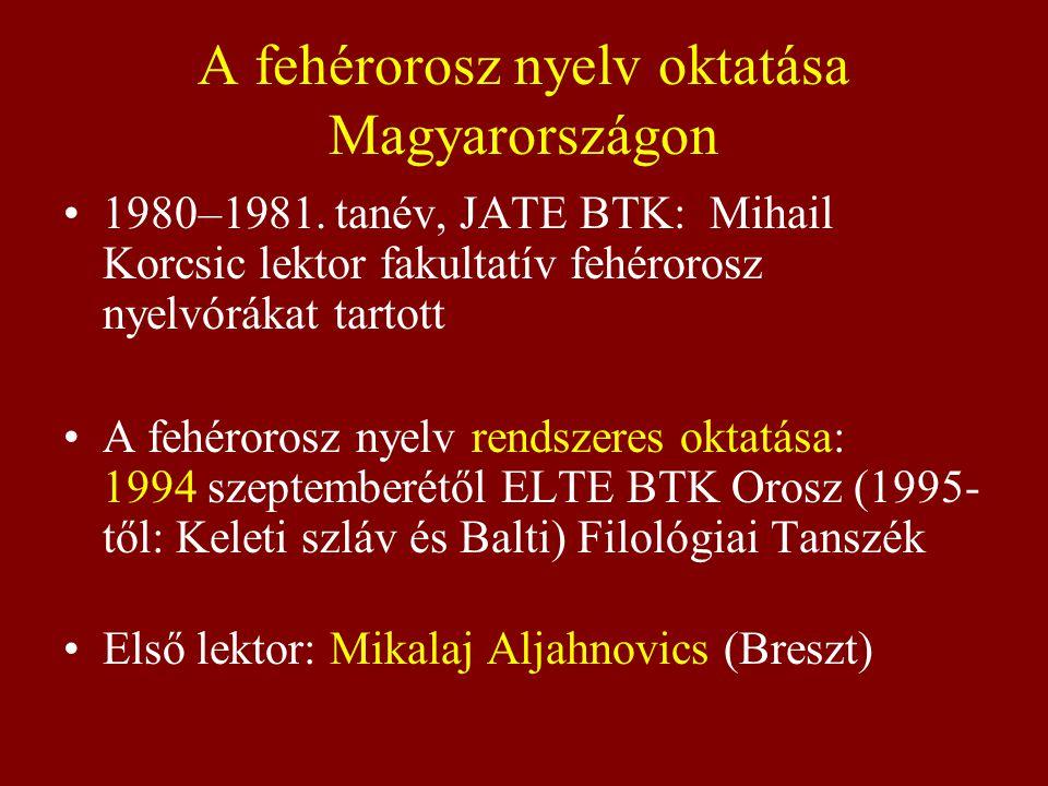 A fehérorosz nyelv oktatása Magyarországon