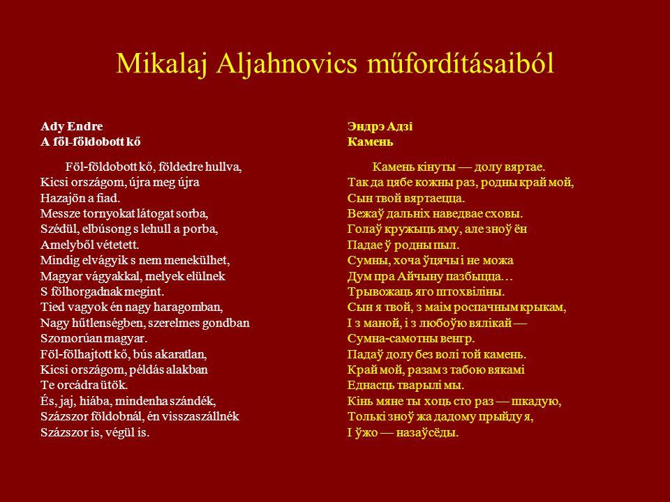 Mikalaj Aljahnovics műfordításaiból