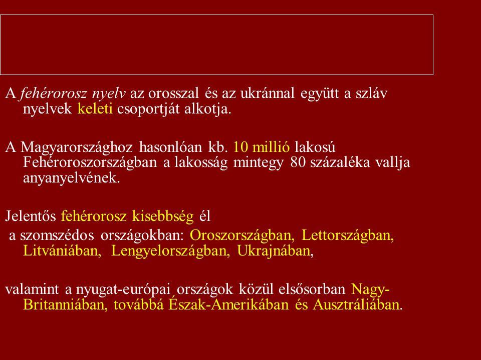 Bevezetés A fehérorosz nyelv az orosszal és az ukránnal együtt a szláv nyelvek keleti csoportját alkotja.