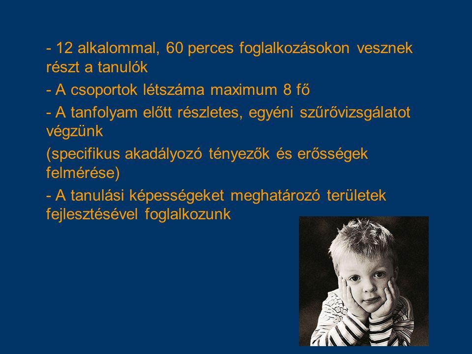 - 12 alkalommal, 60 perces foglalkozásokon vesznek részt a tanulók
