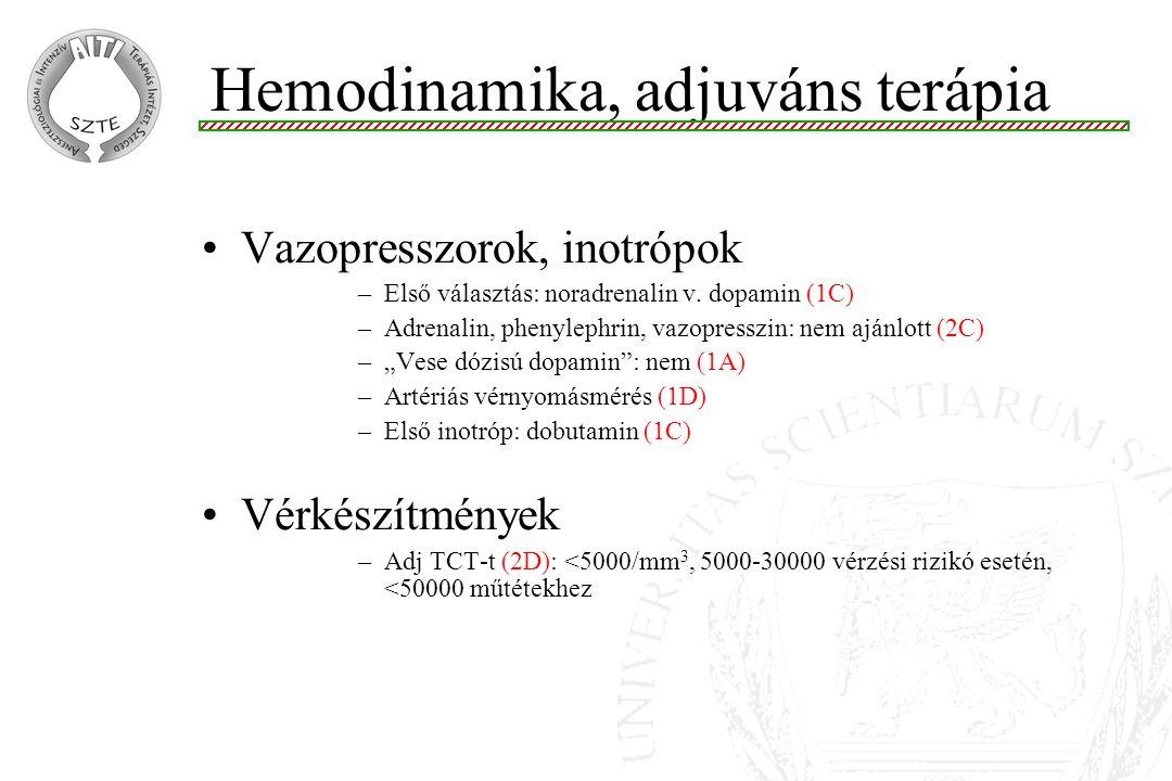 Hemodinamika, adjuváns terápia