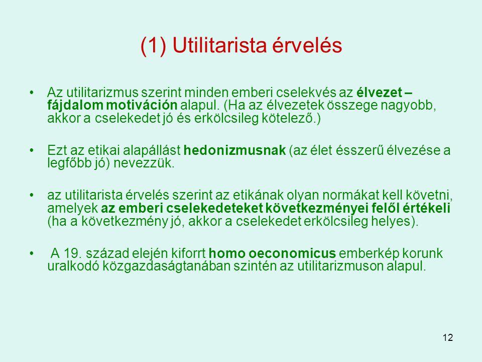(1) Utilitarista érvelés