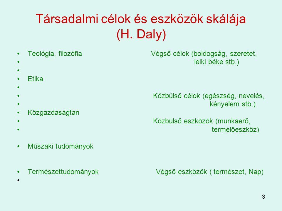 Társadalmi célok és eszközök skálája (H. Daly)