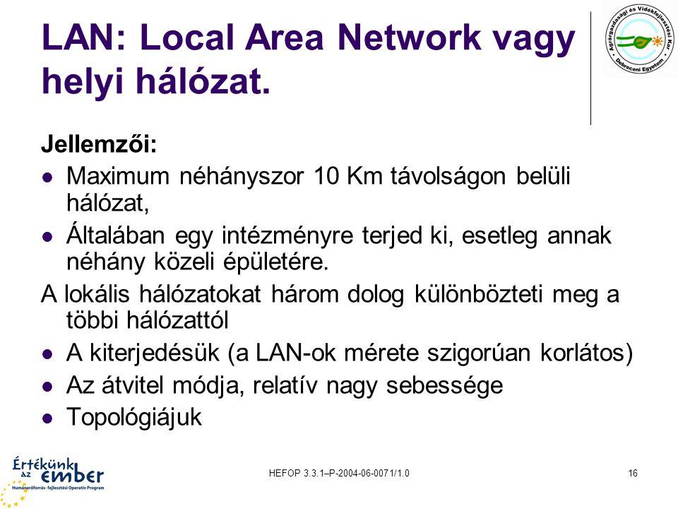 LAN: Local Area Network vagy helyi hálózat.