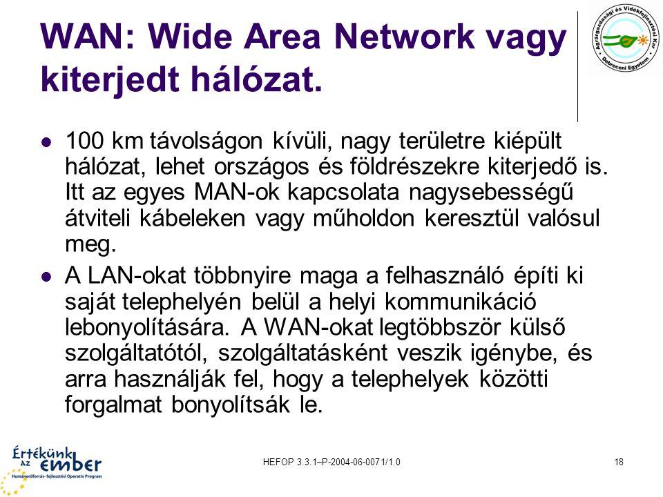 WAN: Wide Area Network vagy kiterjedt hálózat.