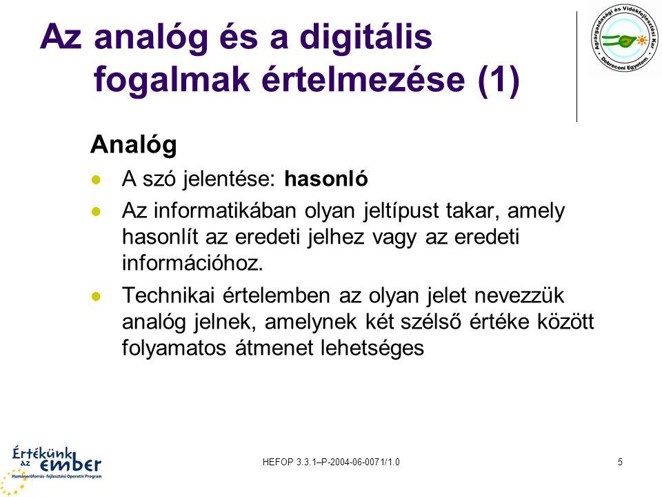 Az analóg és a digitális fogalmak értelmezése (1)
