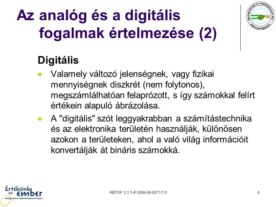 Az analóg és a digitális fogalmak értelmezése (2)