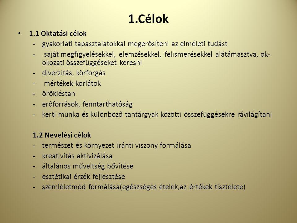 1.Célok 1.1 Oktatási célok. gyakorlati tapasztalatokkal megerősíteni az elméleti tudást.