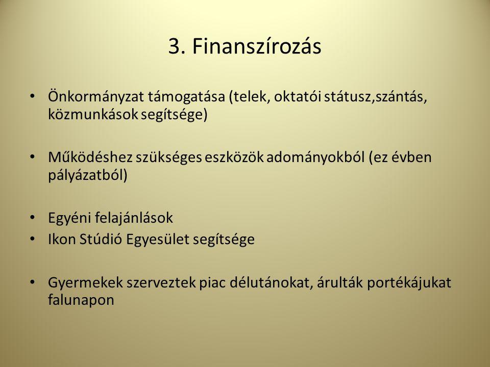 3. Finanszírozás Önkormányzat támogatása (telek, oktatói státusz,szántás, közmunkások segítsége)