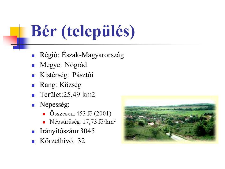 Bér (település) Régió: Észak-Magyarország Megye: Nógrád