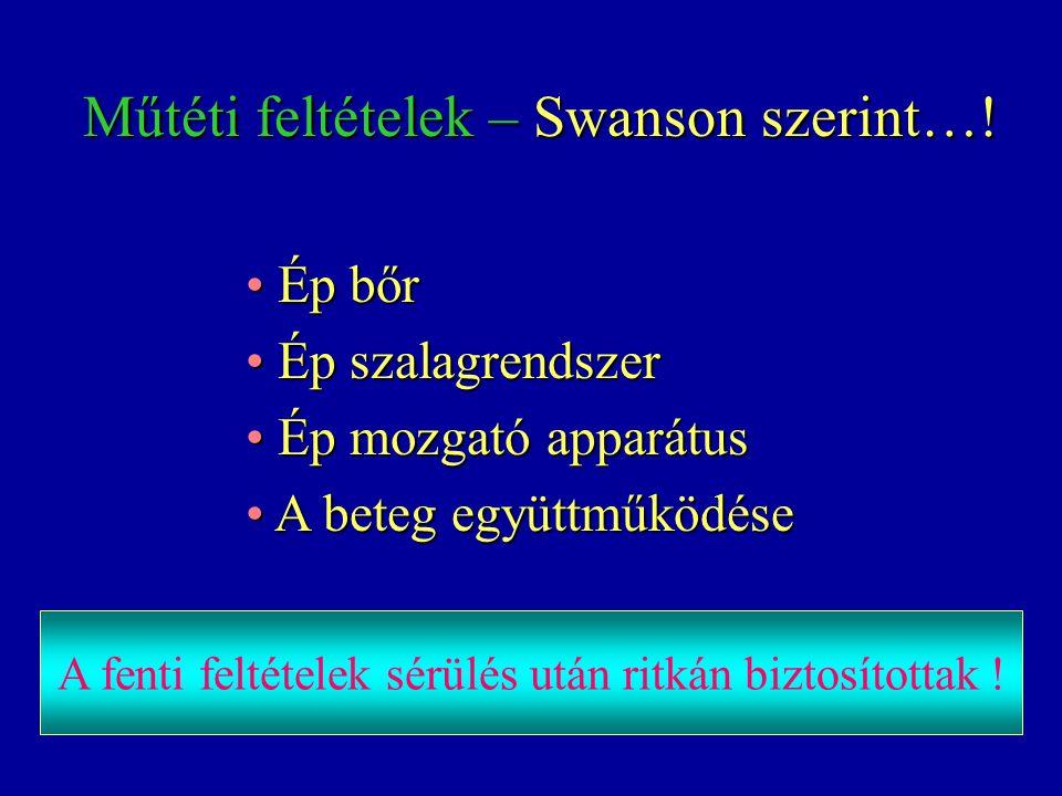 Műtéti feltételek – Swanson szerint…!