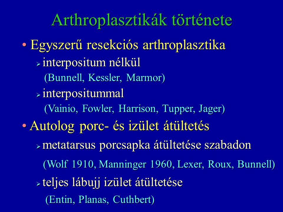 Arthroplasztikák története