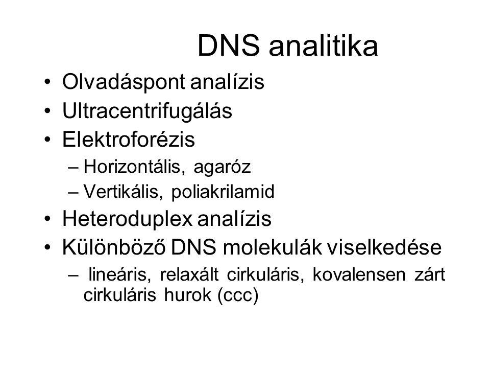 DNS analitika Olvadáspont analízis Ultracentrifugálás Elektroforézis