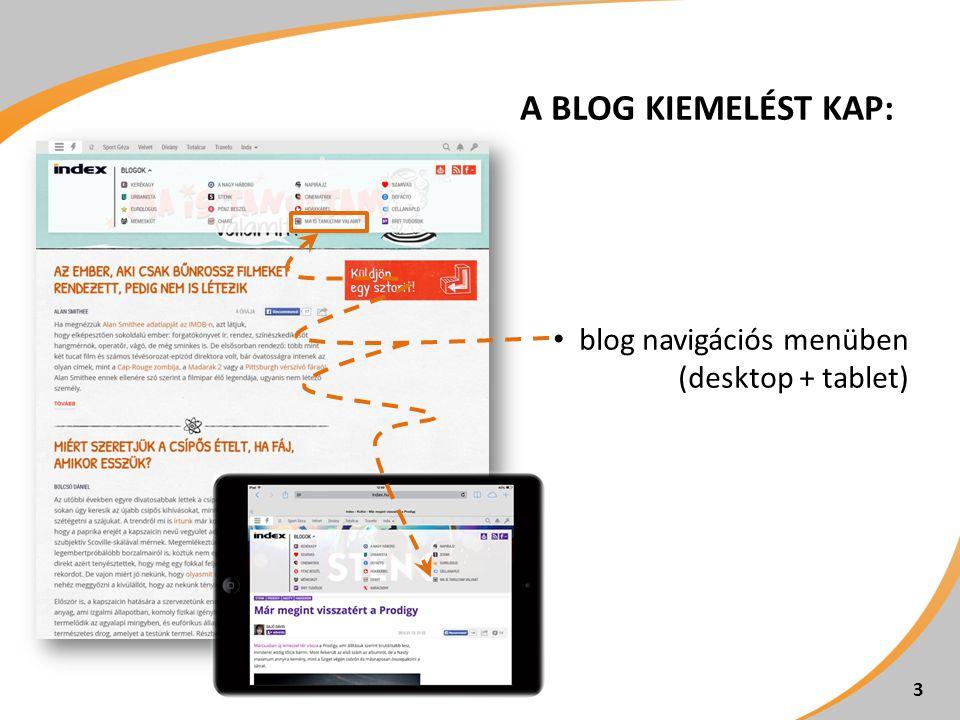 A blog kiemelést kap: blog navigációs menüben (desktop + tablet)