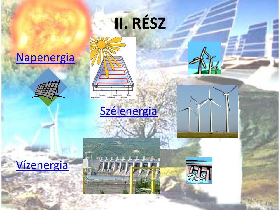 II. RÉSZ Napenergia Szélenergia Vízenergia