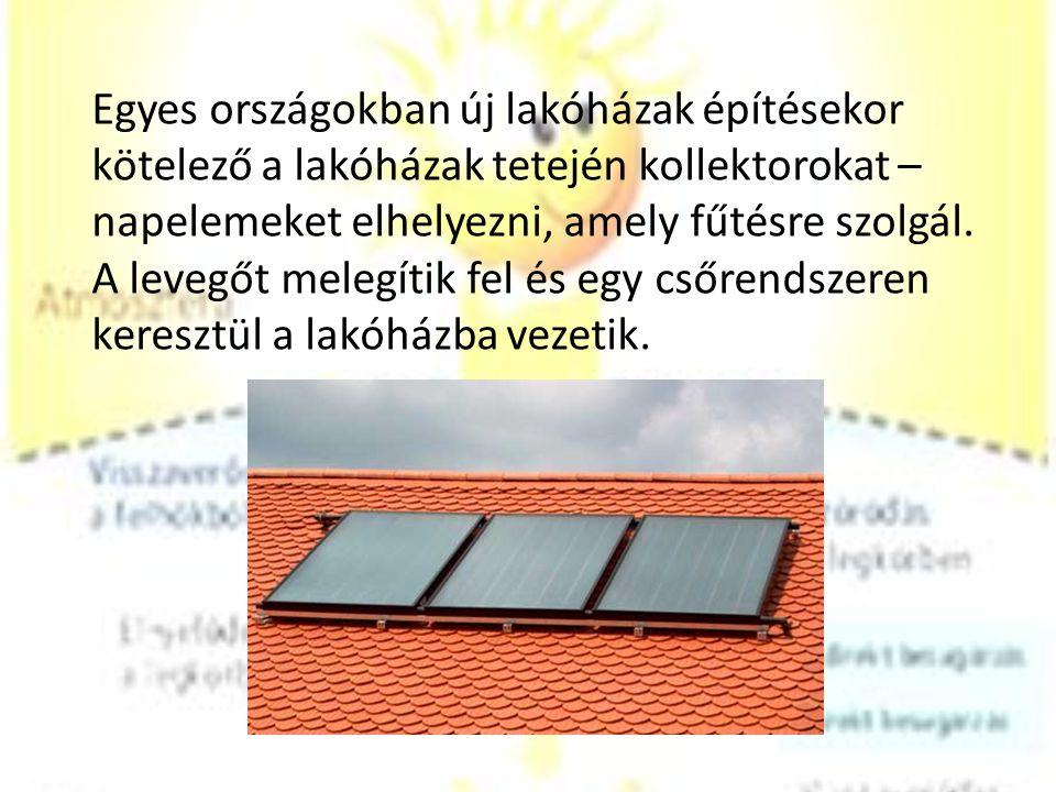 Egyes országokban új lakóházak építésekor kötelező a lakóházak tetején kollektorokat – napelemeket elhelyezni, amely fűtésre szolgál.