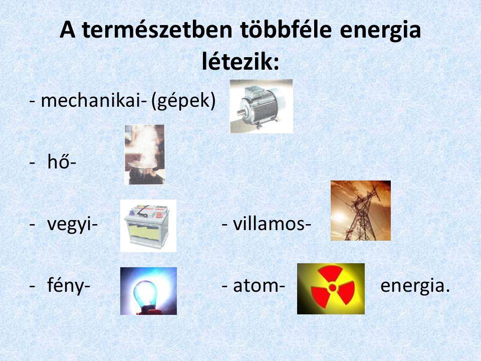 A természetben többféle energia létezik:
