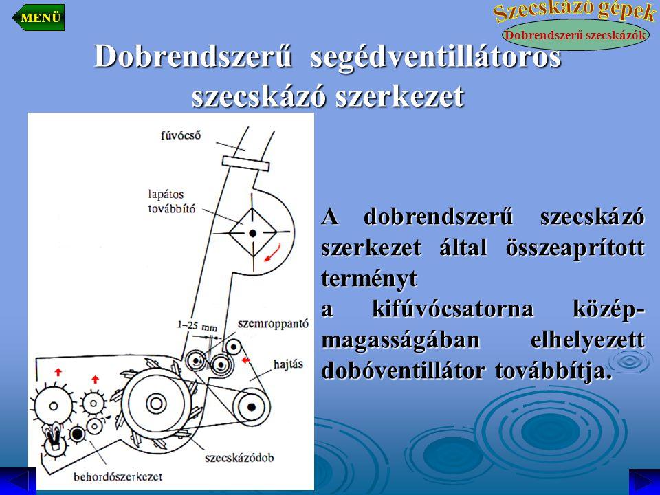 Dobrendszerű segédventillátoros szecskázó szerkezet
