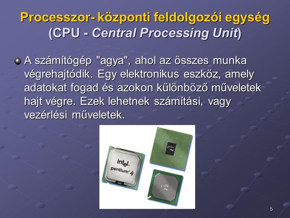 Processzor- központi feldolgozói egység (CPU - Central Processing Unit)