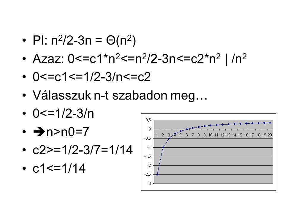 Pl: n2/2-3n = Θ(n2) Azaz: 0<=c1*n2<=n2/2-3n<=c2*n2 | /n2. 0<=c1<=1/2-3/n<=c2. Válasszuk n-t szabadon meg…