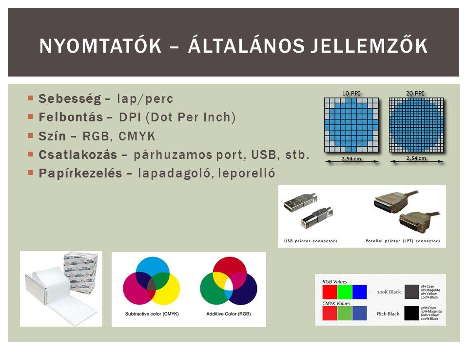 nyomtatók – általános jellemzők