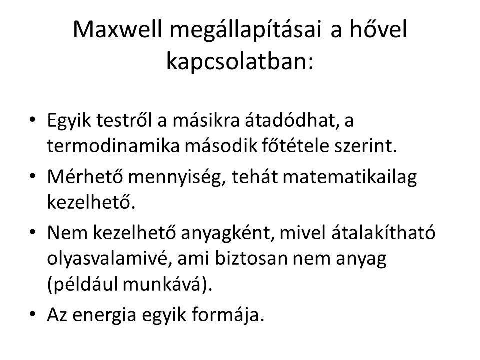 Maxwell megállapításai a hővel kapcsolatban: