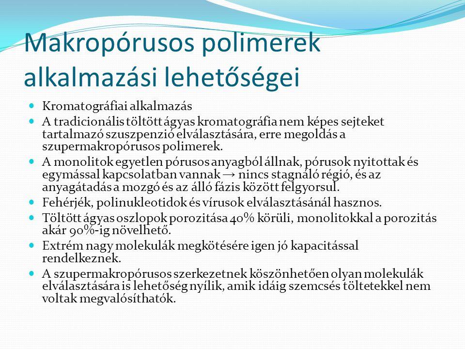 Makropórusos polimerek alkalmazási lehetőségei