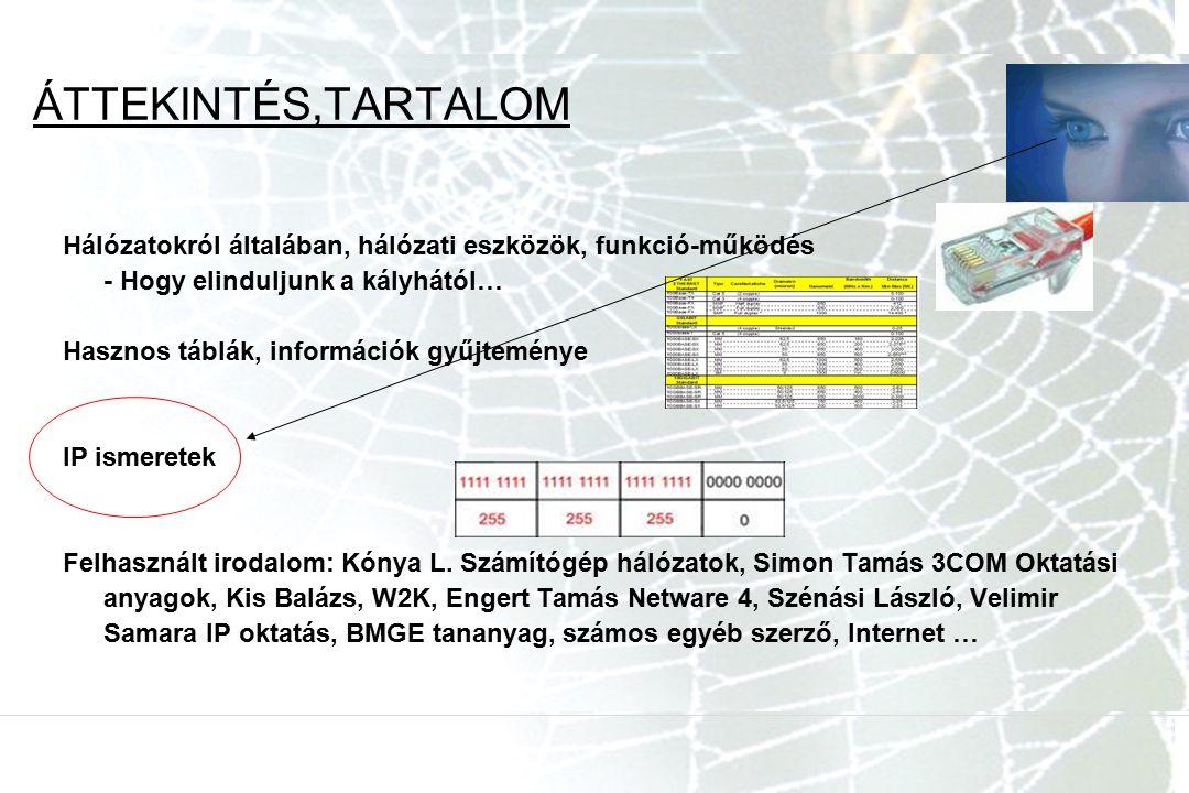 ÁTTEKINTÉS,TARTALOM Hálózatokról általában, hálózati eszközök, funkció-működés. - Hogy elinduljunk a kályhától…