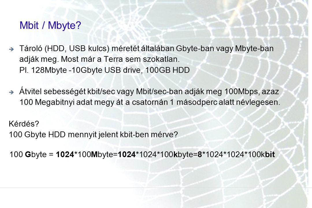 Mbit / Mbyte Tároló (HDD, USB kulcs) méretét általában Gbyte-ban vagy Mbyte-ban adják meg. Most már a Terra sem szokatlan.