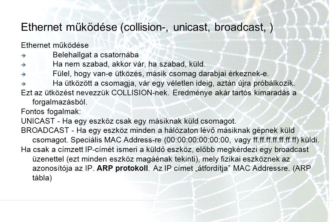 Ethernet működése (collision-, unicast, broadcast, )