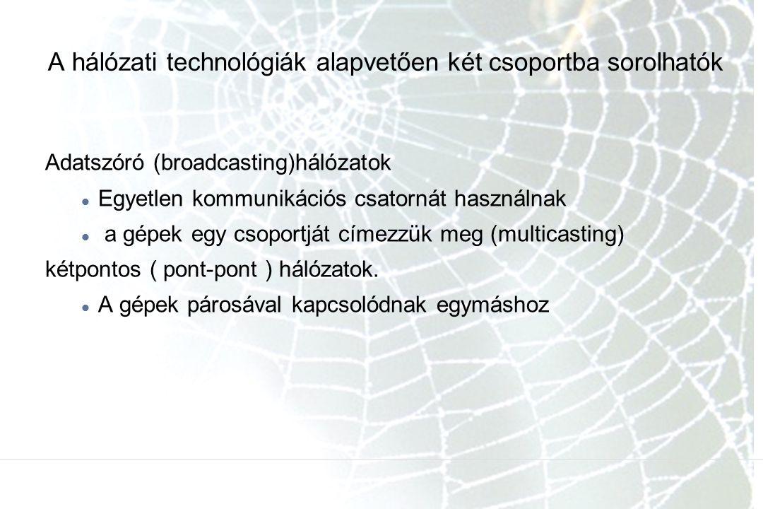 A hálózati technológiák alapvetően két csoportba sorolhatók
