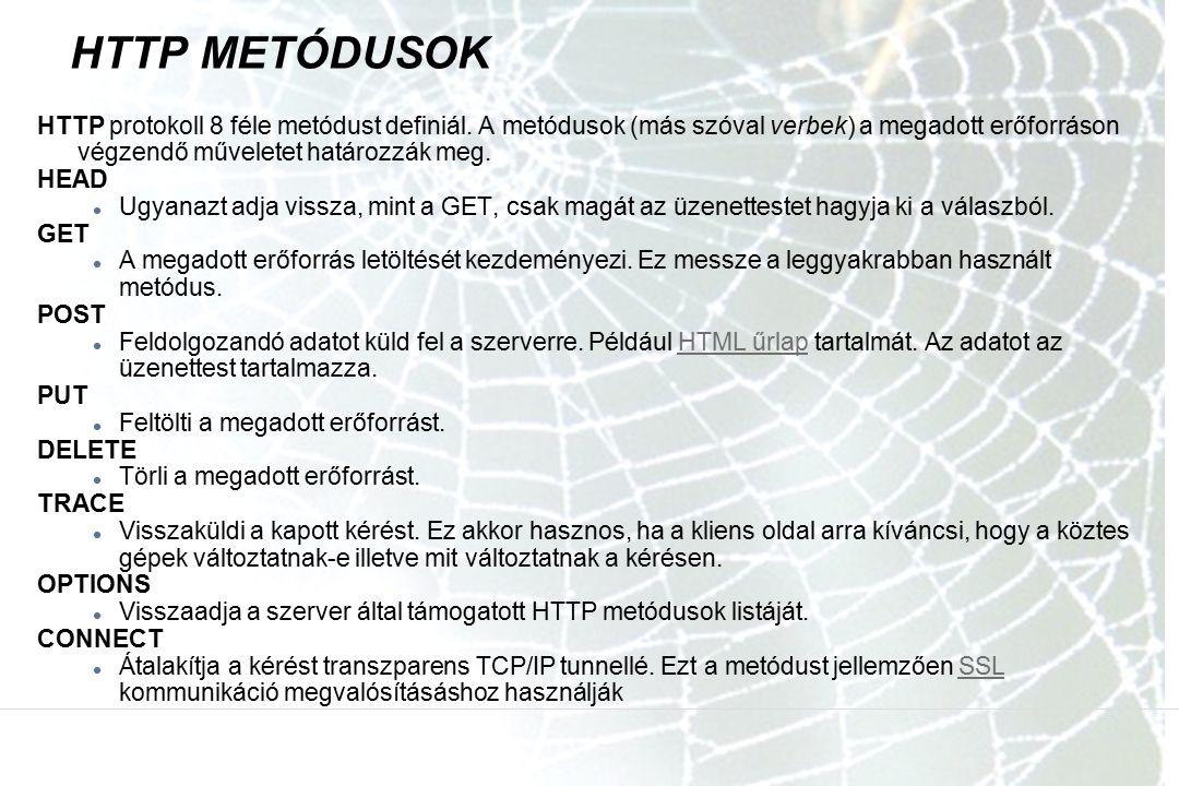 HTTP METÓDUSOK HTTP protokoll 8 féle metódust definiál. A metódusok (más szóval verbek) a megadott erőforráson végzendő műveletet határozzák meg.