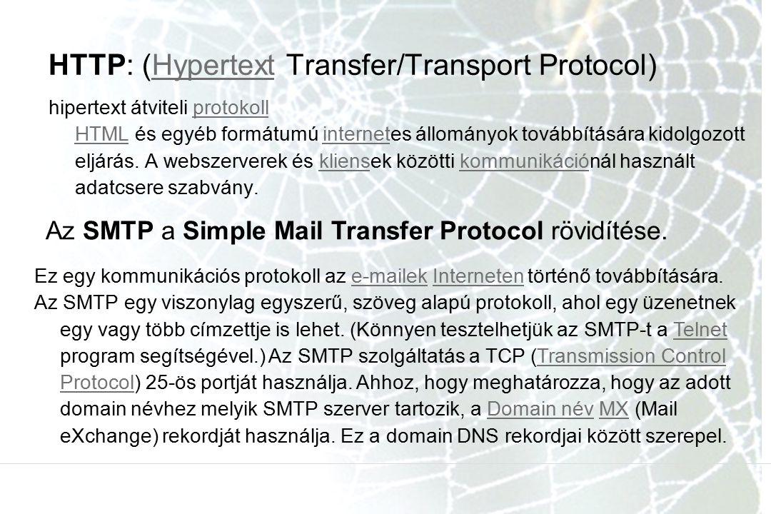 HTTP: (Hypertext Transfer/Transport Protocol)