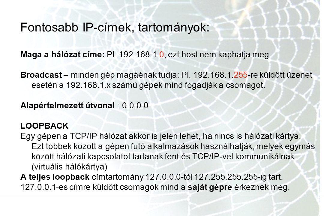 Fontosabb IP-címek, tartományok: