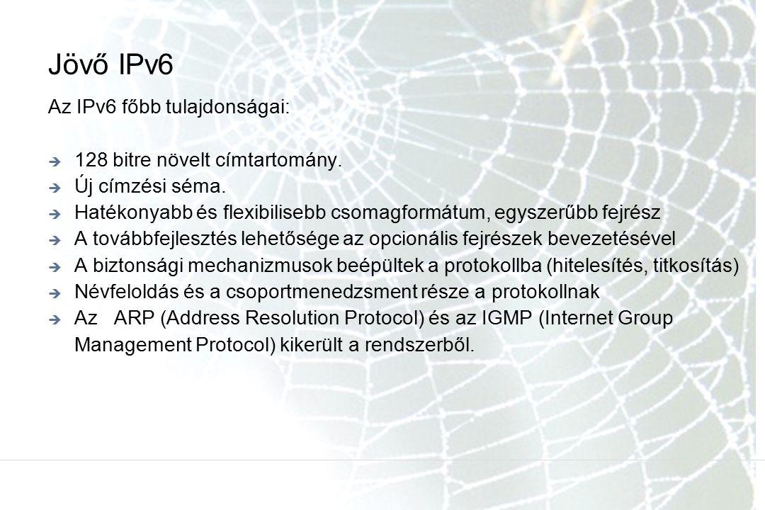 Jövő IPv6 Az IPv6 főbb tulajdonságai: 128 bitre növelt címtartomány.
