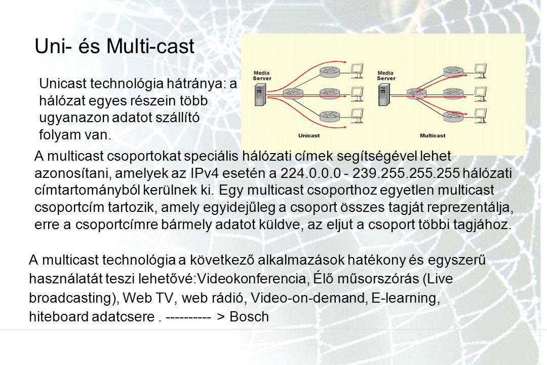 Uni- és Multi-cast Unicast technológia hátránya: a hálózat egyes részein több ugyanazon adatot szállító folyam van.