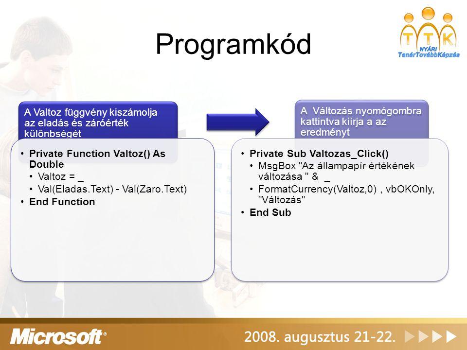 Programkód A Valtoz függvény kiszámolja az eladás és záróérték különbségét. Private Function Valtoz() As Double.