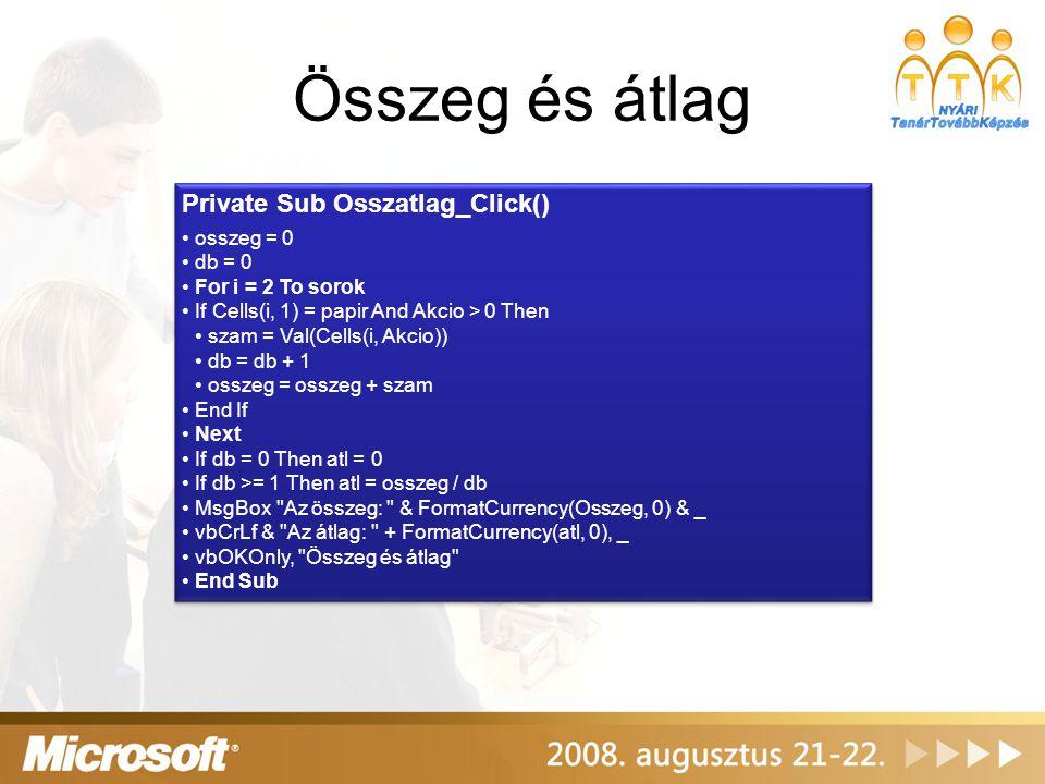 Összeg és átlag Private Sub Osszatlag_Click() osszeg = 0 db = 0