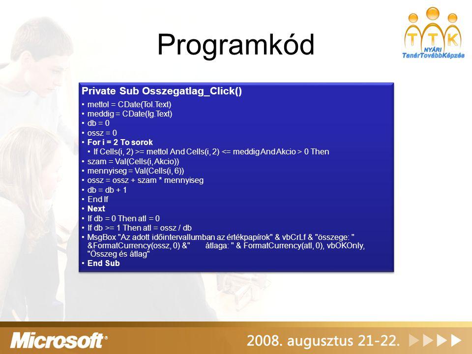 Programkód Private Sub Osszegatlag_Click() mettol = CDate(Tol.Text)